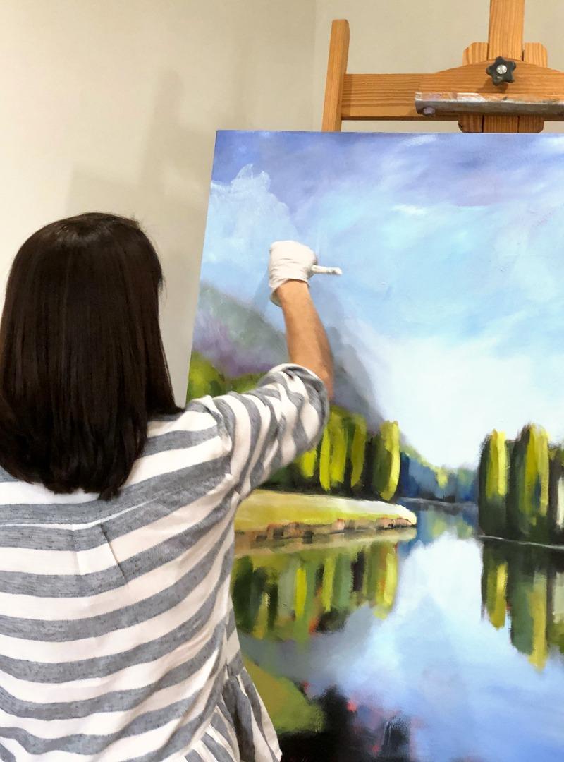 Wendy Bilas Painting in her Studio