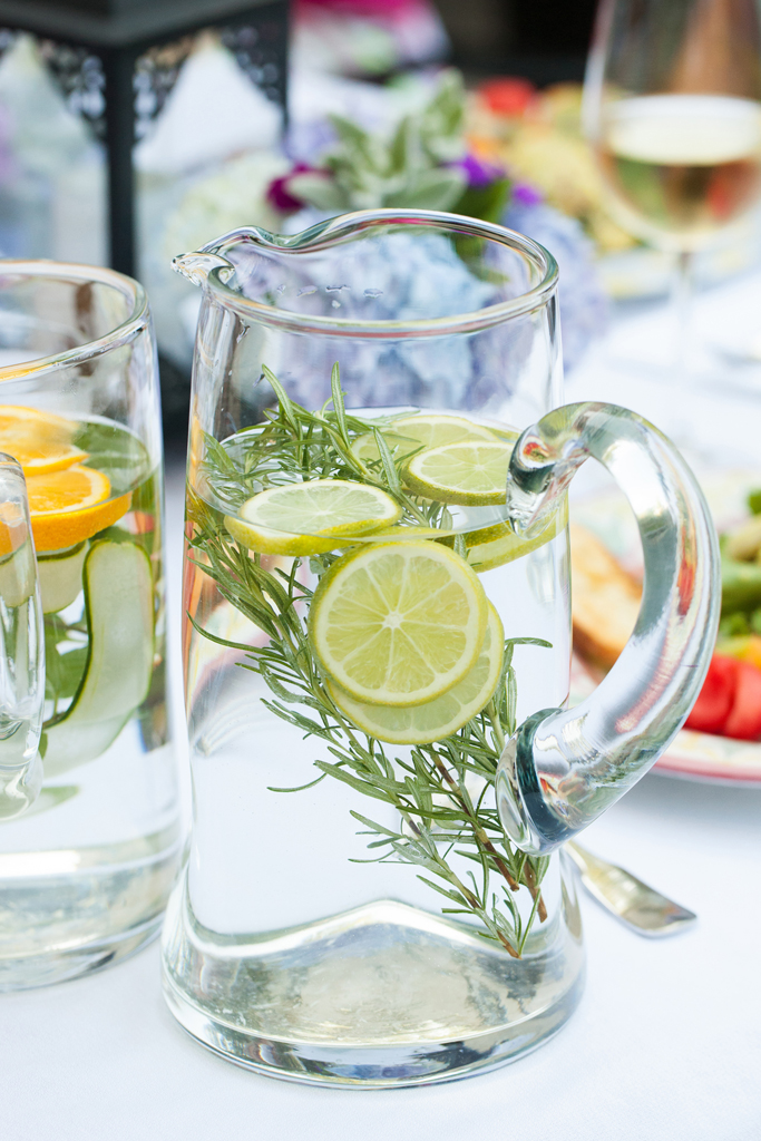 water flavored with lemon, lime, and rosemary