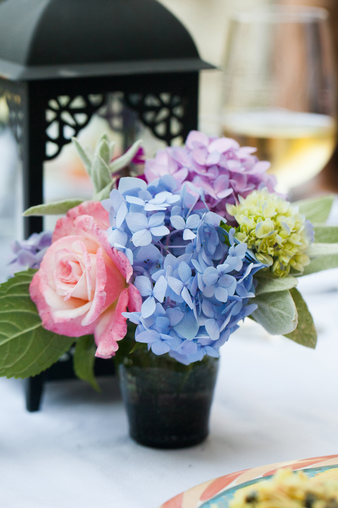 floral arrangement with hydrangeas and roses from the backyard garden