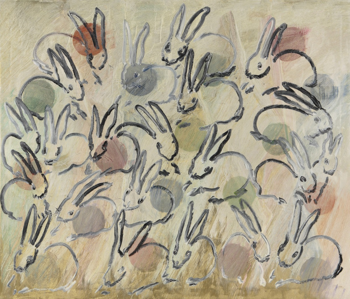 "Hunt Slonem Bunnies Painting ""Chinensis"""