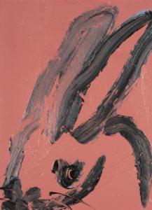 """Hunt Slonem Bunnies Painting """"Confederate Rose"""""""