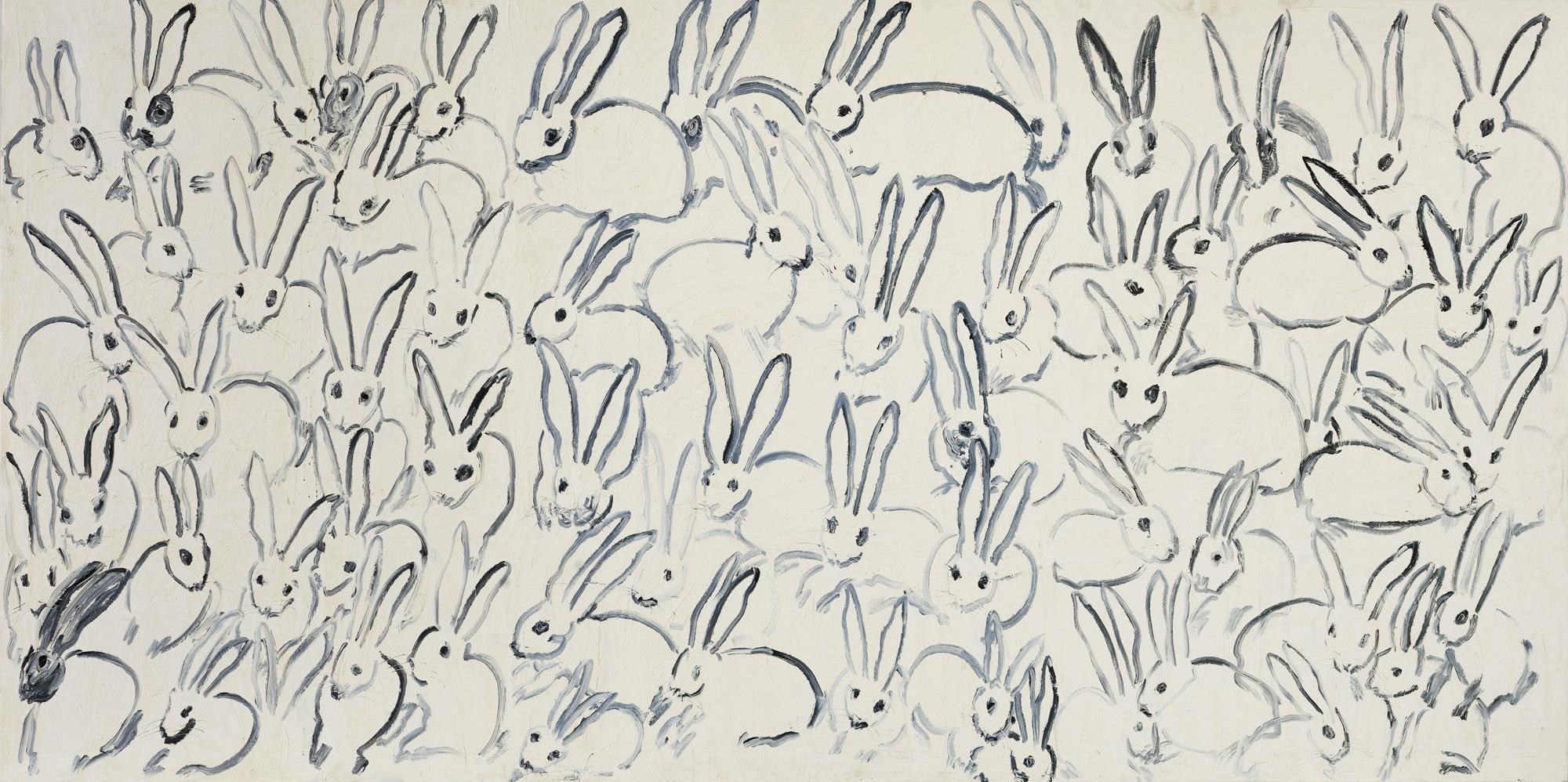 "Hunt Slonem Bunnies Painting ""Hutch"""