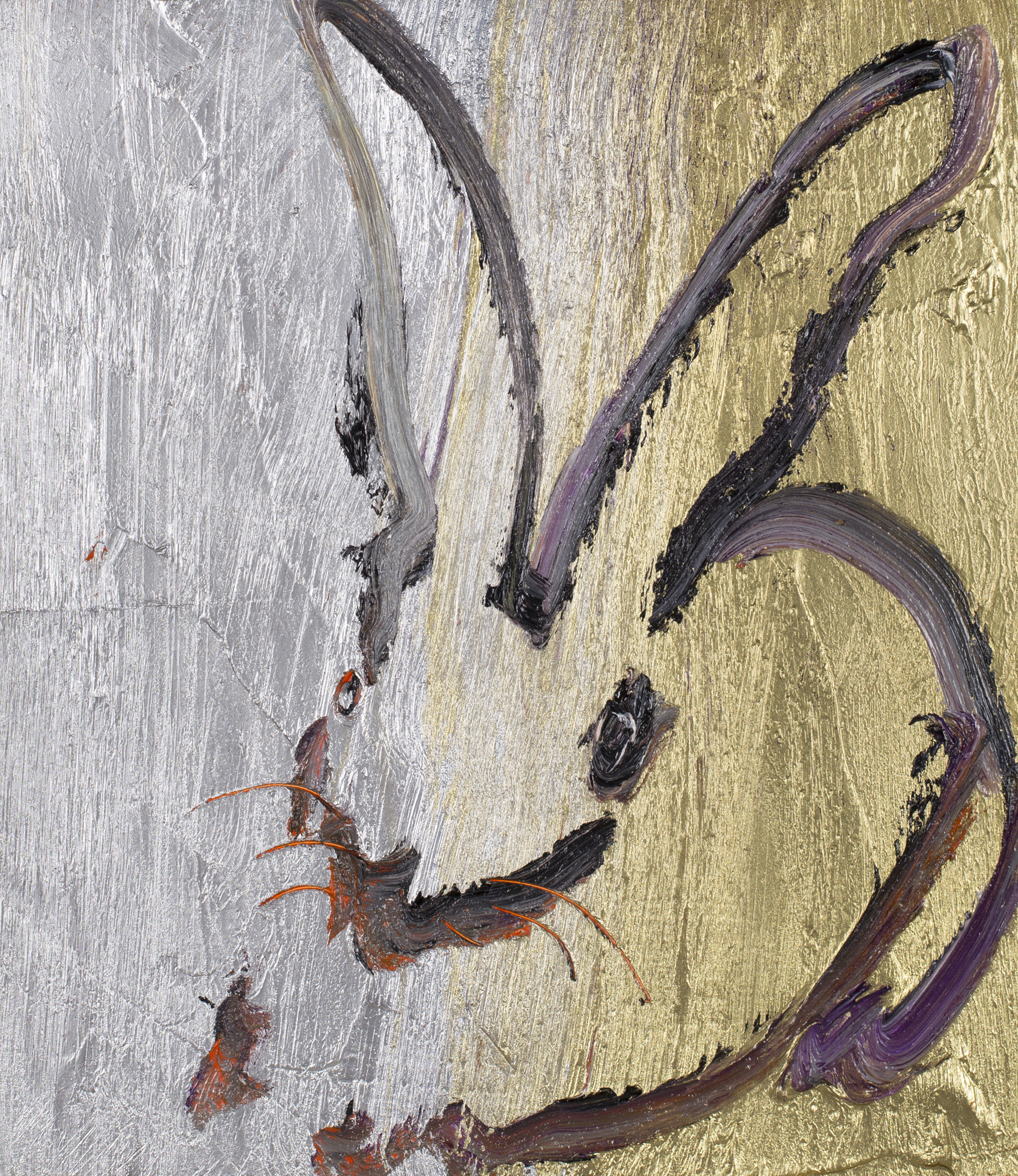"Hunt Slonem Bunnies Painting ""Two Metals"""