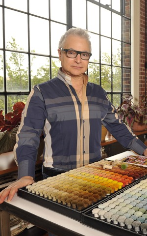Wesley Mancini with his color poms in his studio. Photo: Karen Allen.