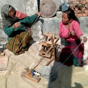 Women hand spinning wool after it has been washed. (Nepal)