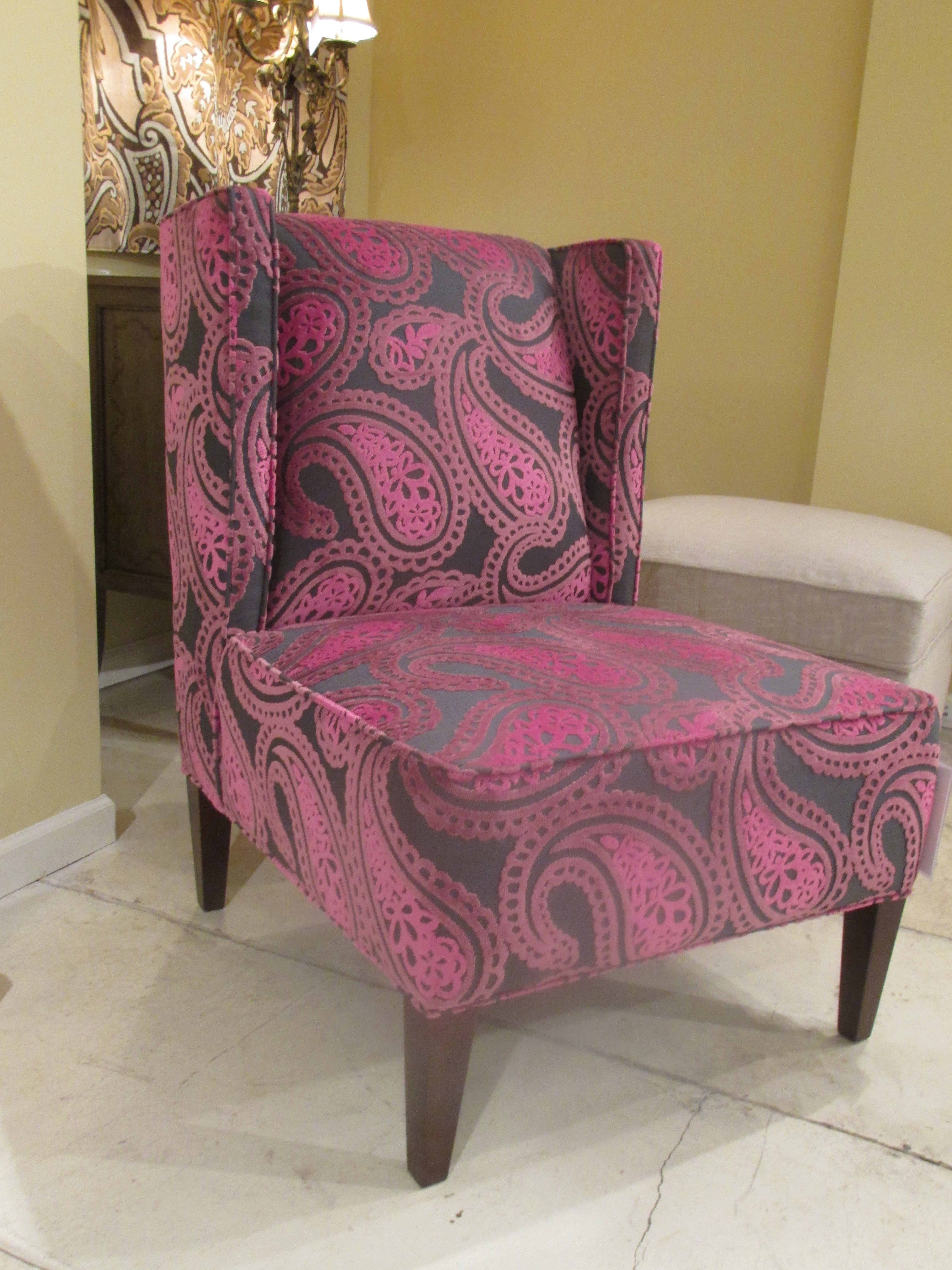 HGTV Home Furniture's fun and lively accent chair adds a pop of color to any neutral setting. Available at Good's Home Furnishings.