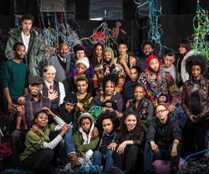 Members of HowDoYouSayYaminAfrican? (Yams) in a studio in Dumbo, Brooklyn, surrounded  by hanging bead sculptures by Sienna Shields. Photo: Karsten Moran for The New York Times.