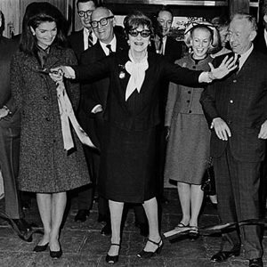 Jacqueline Kennedy with Flora Whitney Miller at the dedication ceremony for the new Whitney  Museum, 1966. Courtesy Whitney Museum.