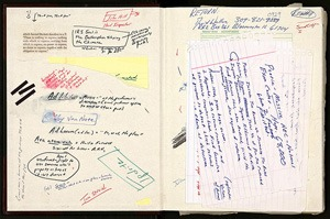 "Inside front cover of notebook labeled ""David Wallace Reward for Return"" for The Pale King; contains reading notes, clippings, and writings related to The Pale King. © David Foster Wallace  Literary Trust."