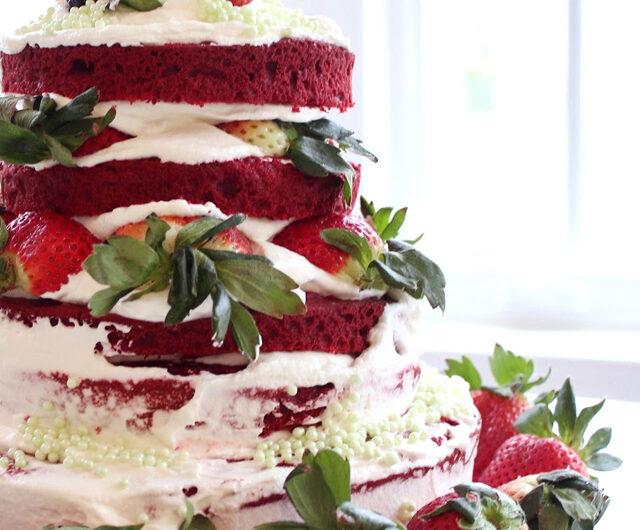 Red Velvet Strawberry Cake