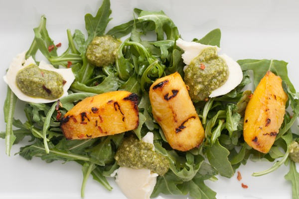 Grilled Peach Salad with Pesto