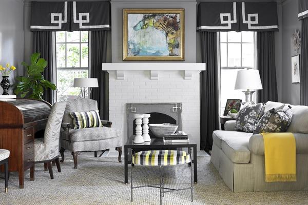 Hickory Chair coffee table. Custom rug by Eve & Staron.