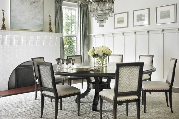 Tea paper by Roger Arlington. Chandelier by Circa Lighting. Dining chairs by Hickory Chair. Chair fabric by Larsen and Nancy Corzine. Drapery fabric by Cowtan & Tout. Custom rug by Eve & Staron.