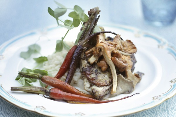 Roasted Chicken with Risotto and Mushroom Fricassee