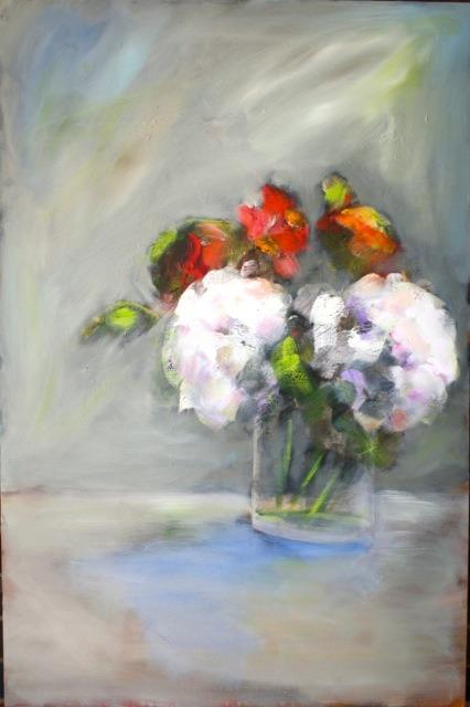 """Hydrangeas"", 24 x 36, oil on canvas"