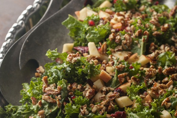 Festive Kale Salad with Sweet Apple Cinnamon Vinaigrette and Pecan Parmesan