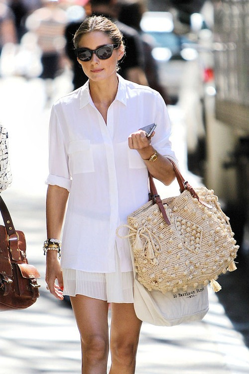 Olivia Palermo shows off her summer street style in New York City on a casual walk