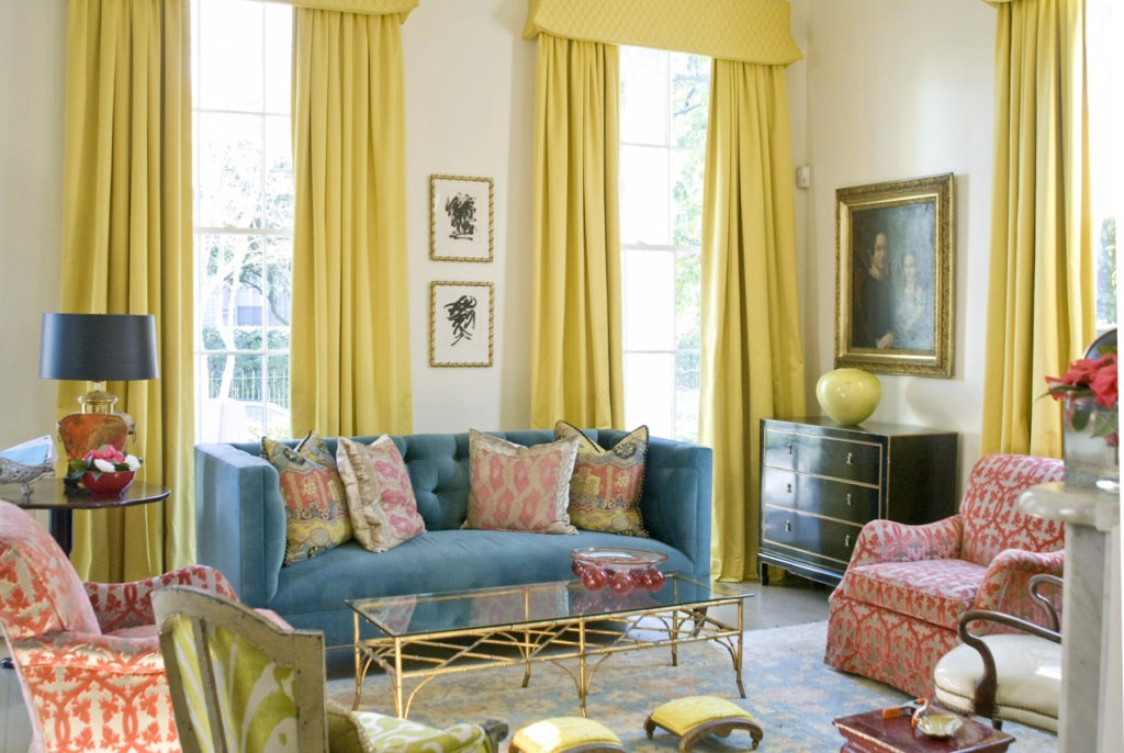 """The designer mixes fabric textures and patterns to give the house a more layered, sophisticated depth. She especially loves cotton velvets: """"They catch light in a way that cottons don't, so you get a more complex hue of color. I'm a big fan of this fabric both for its durability and richness."""""""