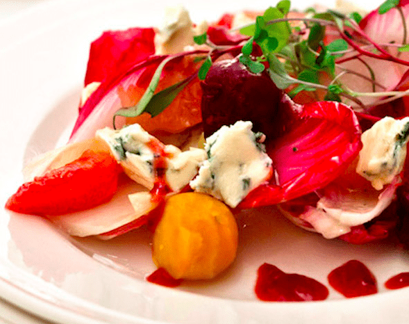 Endive Salad with Roasted Beets, Blue Cheese and Honey-Sherry Vinaigrette