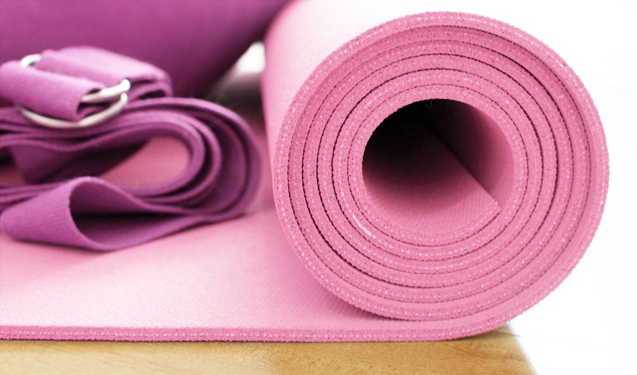 Yoga mat and belt