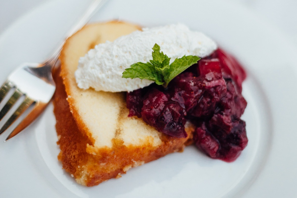 Pound Cake with Rhubarb and Berry Compote