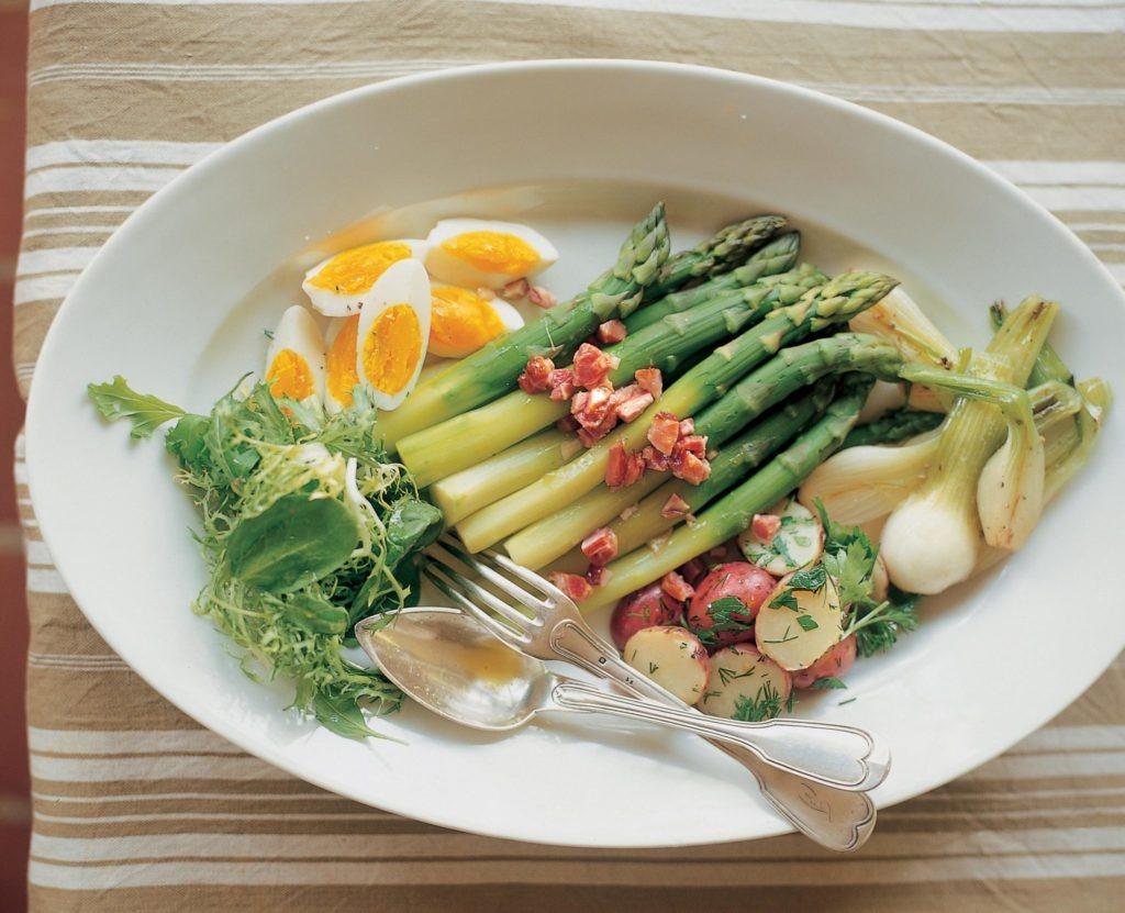 Asparagus with Farm Eggs and Ham Hock
