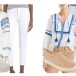 Summer blue tops with jeans and espadrilles