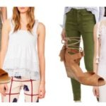 Laid-back summer tops, cargo pants and wedges