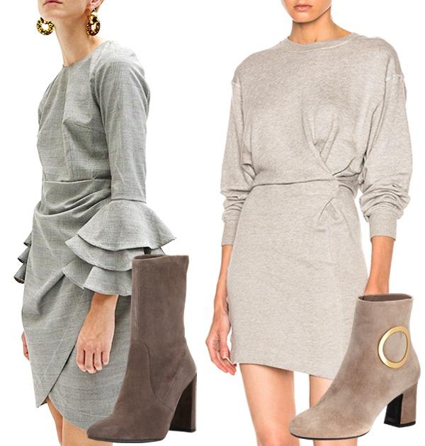 gray dresses booties