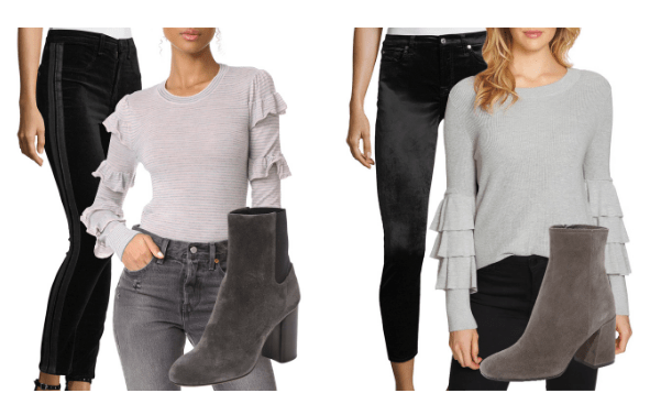 gray sweaters velvet pants booties