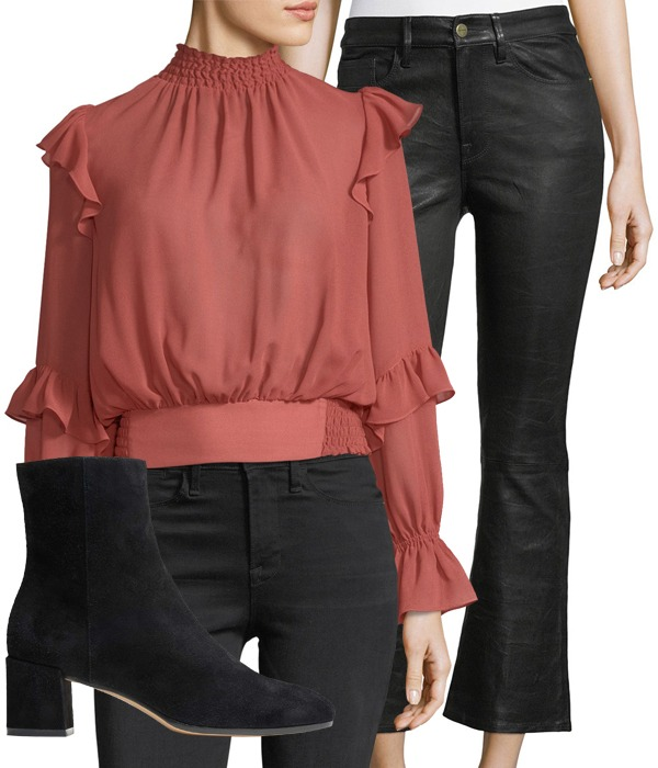 red blouse leather pants booties