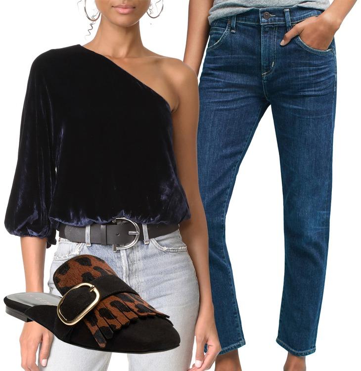 velvet top jeans mule loafer