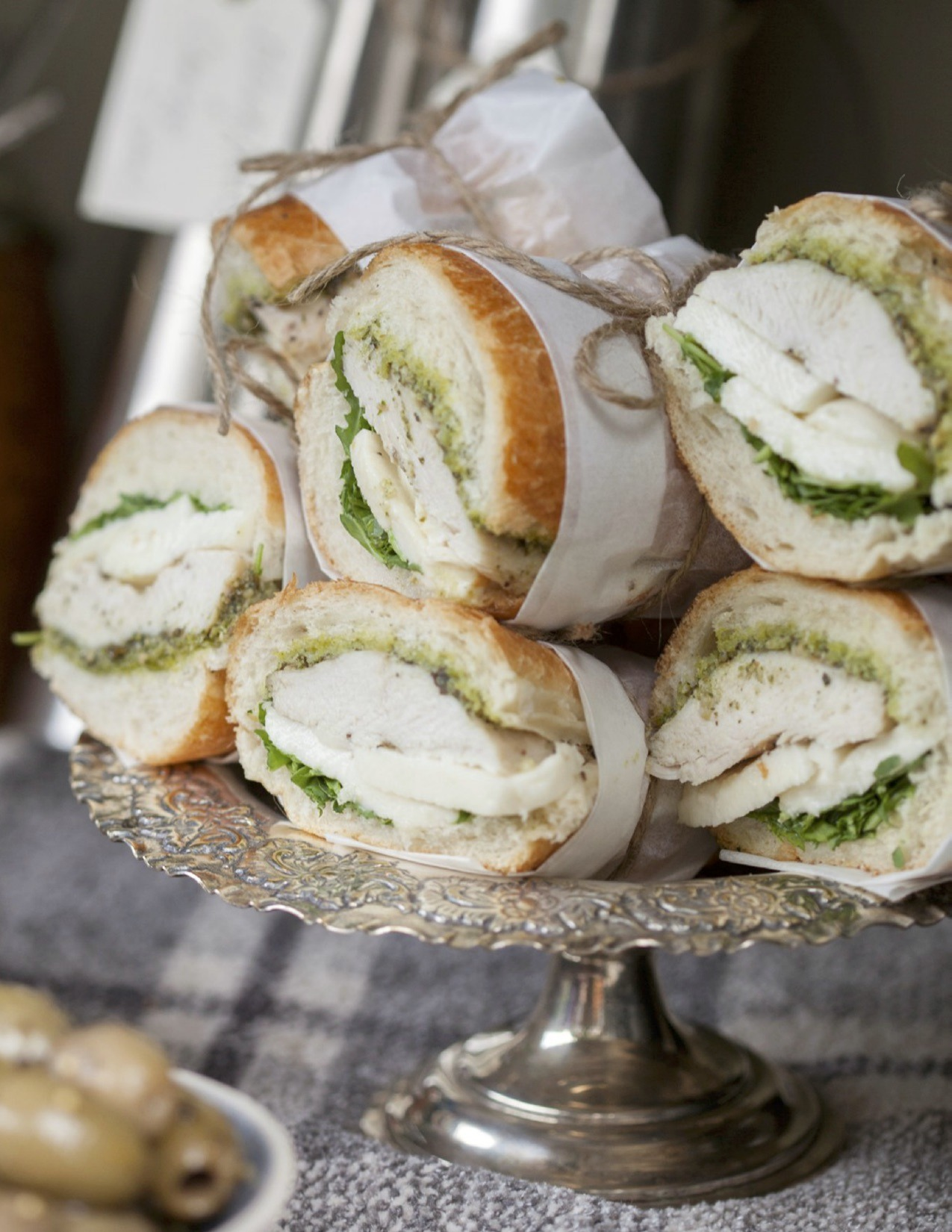 Grilled Chicken Pesto Arugula Mozzarella Sandwiches