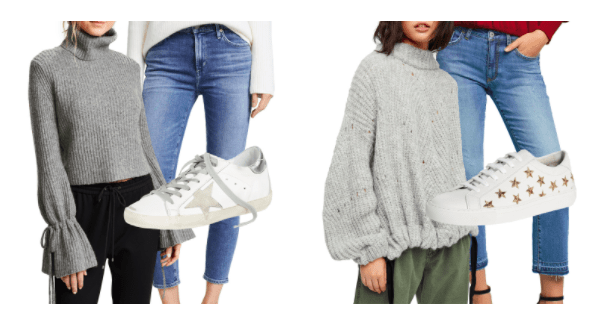 chunky knits jeans sneakers