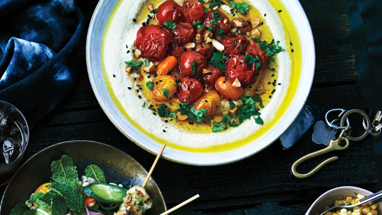 Hummus with Roasted Tomatoes and Almonds