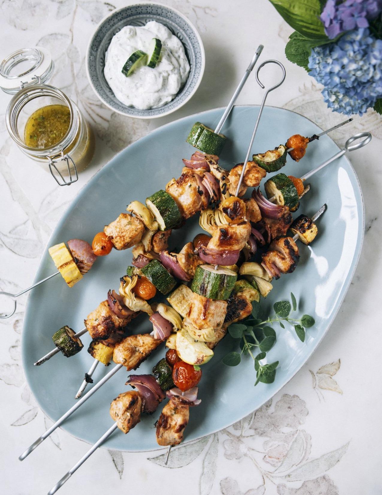 Yogurt-Marinated Chicken and Artichoke Skewers with Herbed Dressing