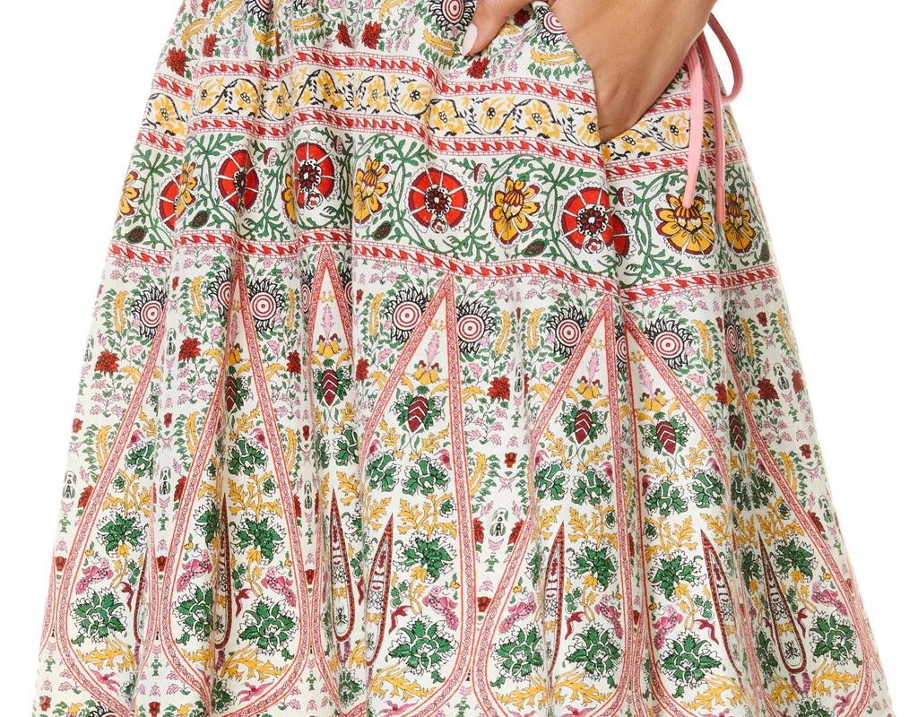 alice olivia earla embroidered midi skirt