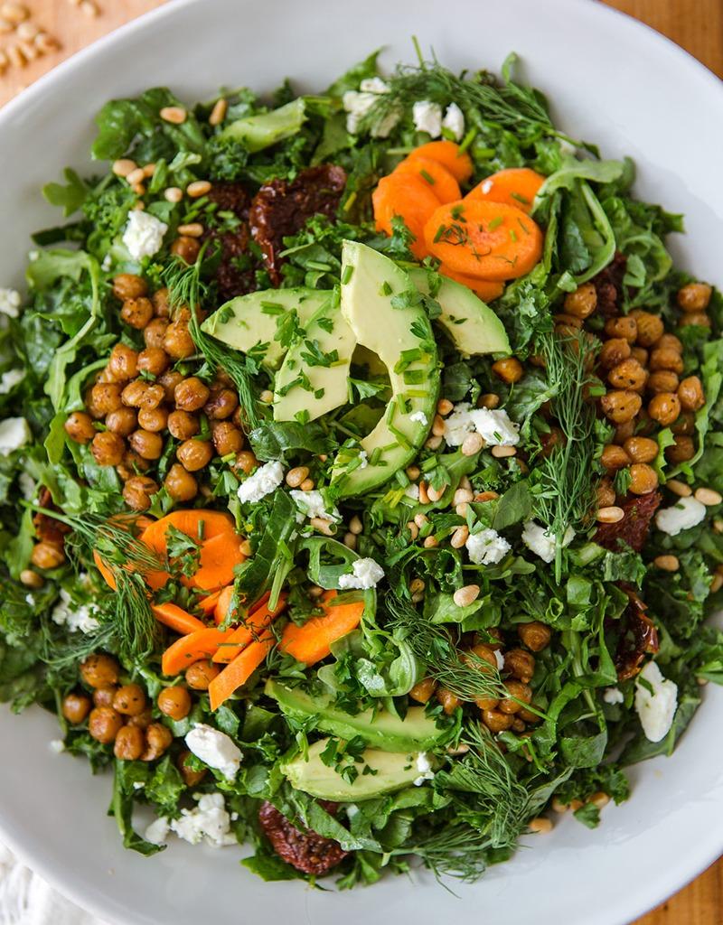Super Green Sun-Dried Tomato Herb Salad with Crispy Chickpeas