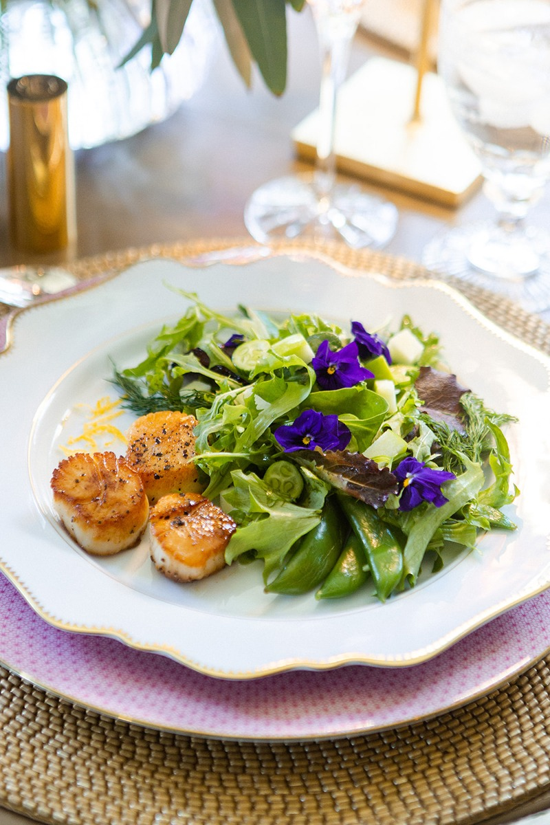 spring entertaining simply elegant butter based scallops with sugar snaps