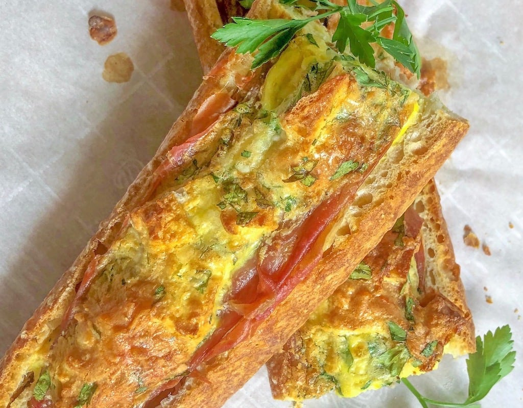 Lemon, Parsley, Parmesan Plus Bread, Proscuitto, and Egg