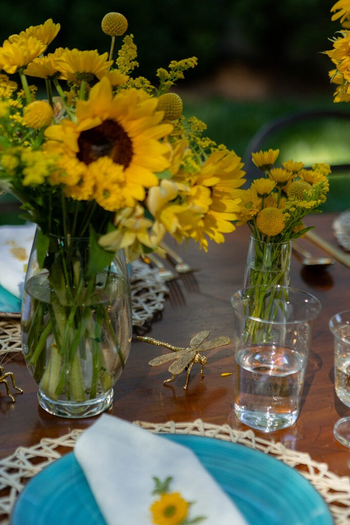 summer entertaining al fresco dining abode home brass bugs