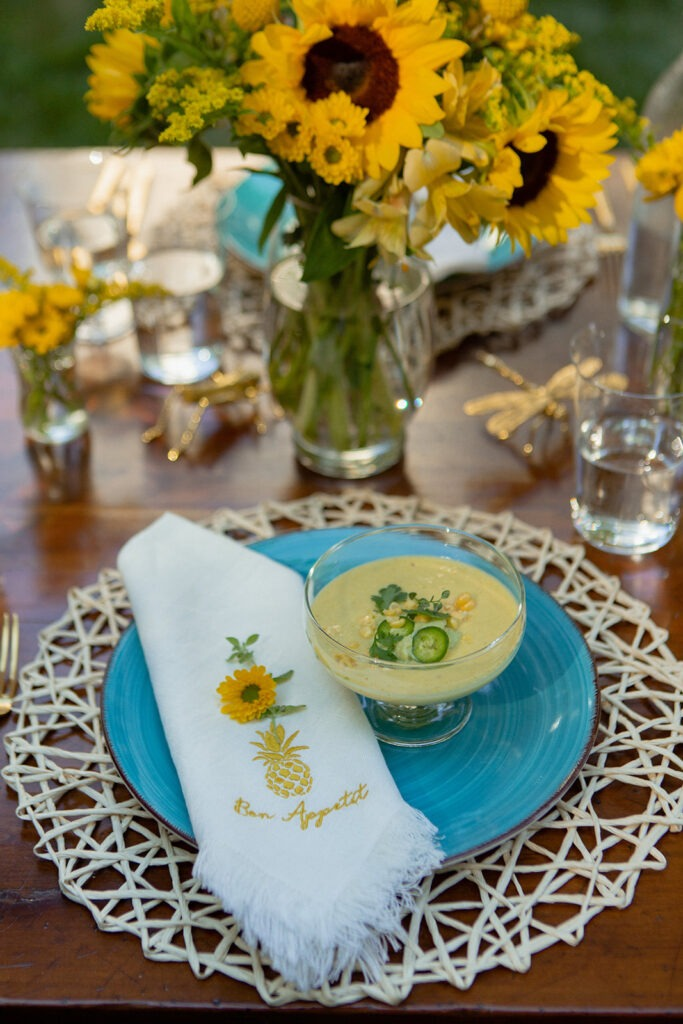 summer entertaining al fresco dining coley home embroidered napkins