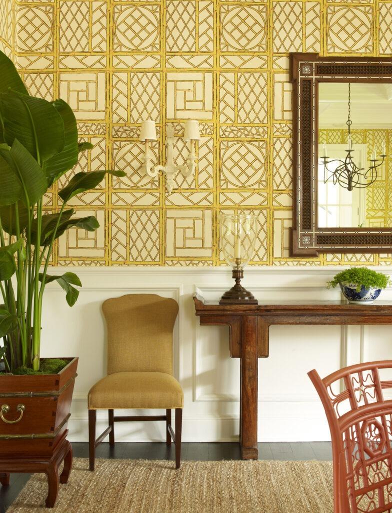 Meg Braff Designs Southampton home dining room wallpaper