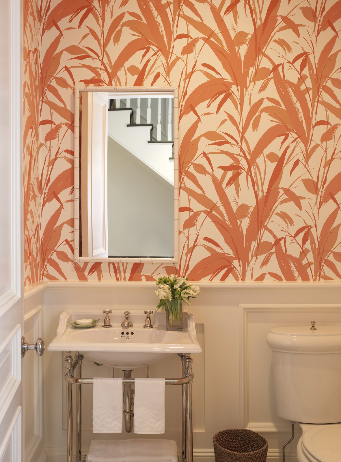 Meg Braff Designs Southampton home powder room wallpaper
