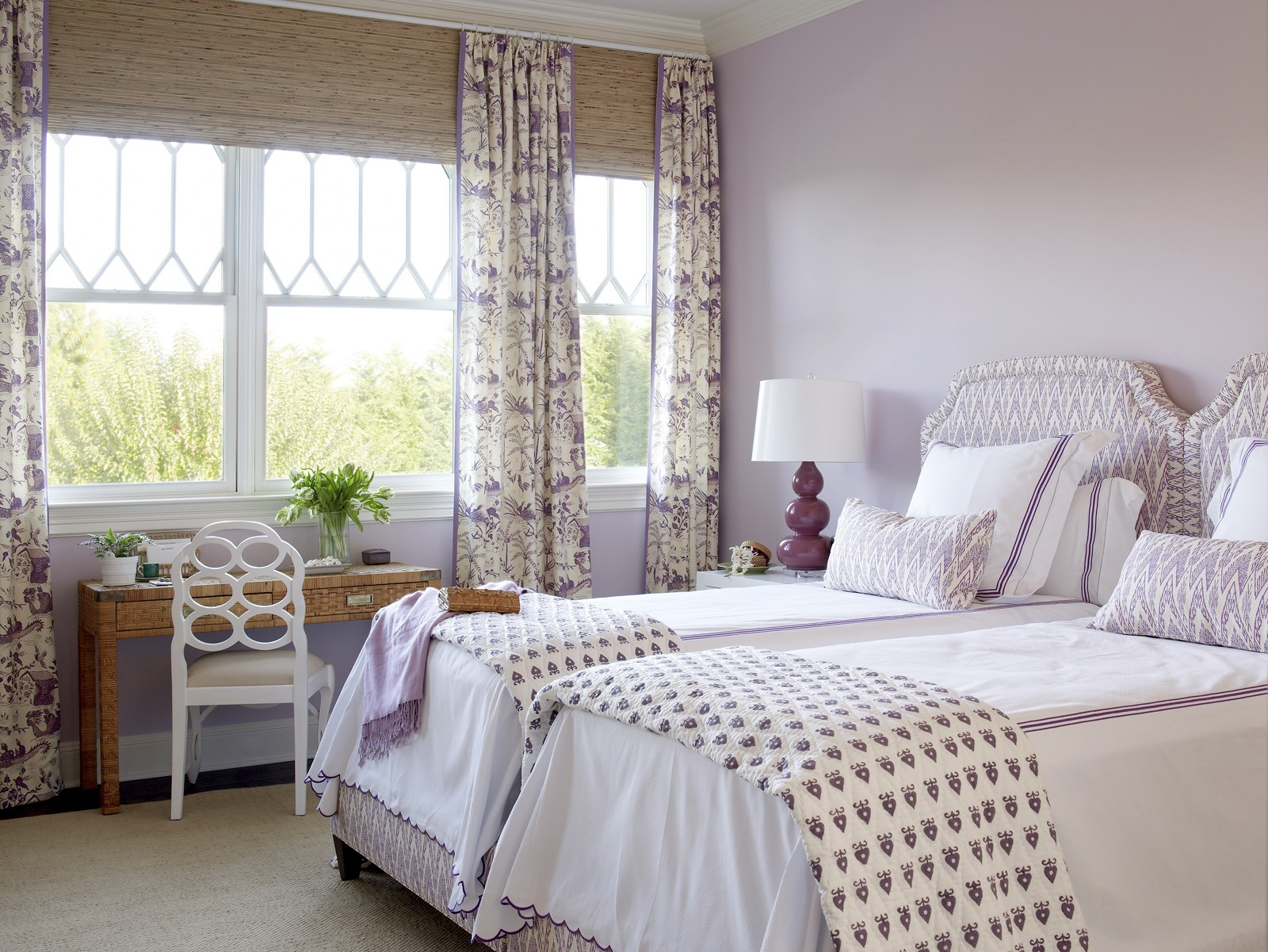Meg Braff Designs Southampton home purple guestroom