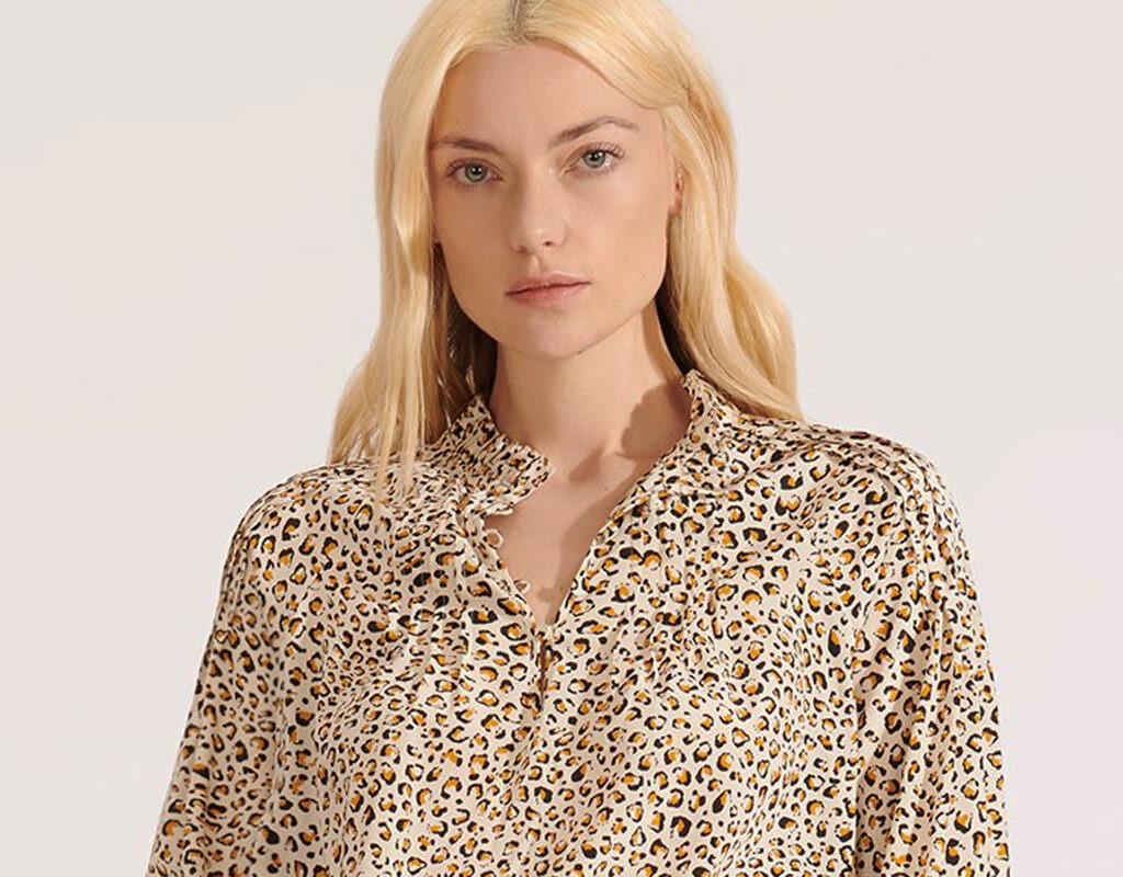 veronica beard reba cheetah blouse fall neutrals