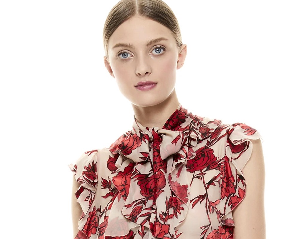 alice olivia robbie floral blouse