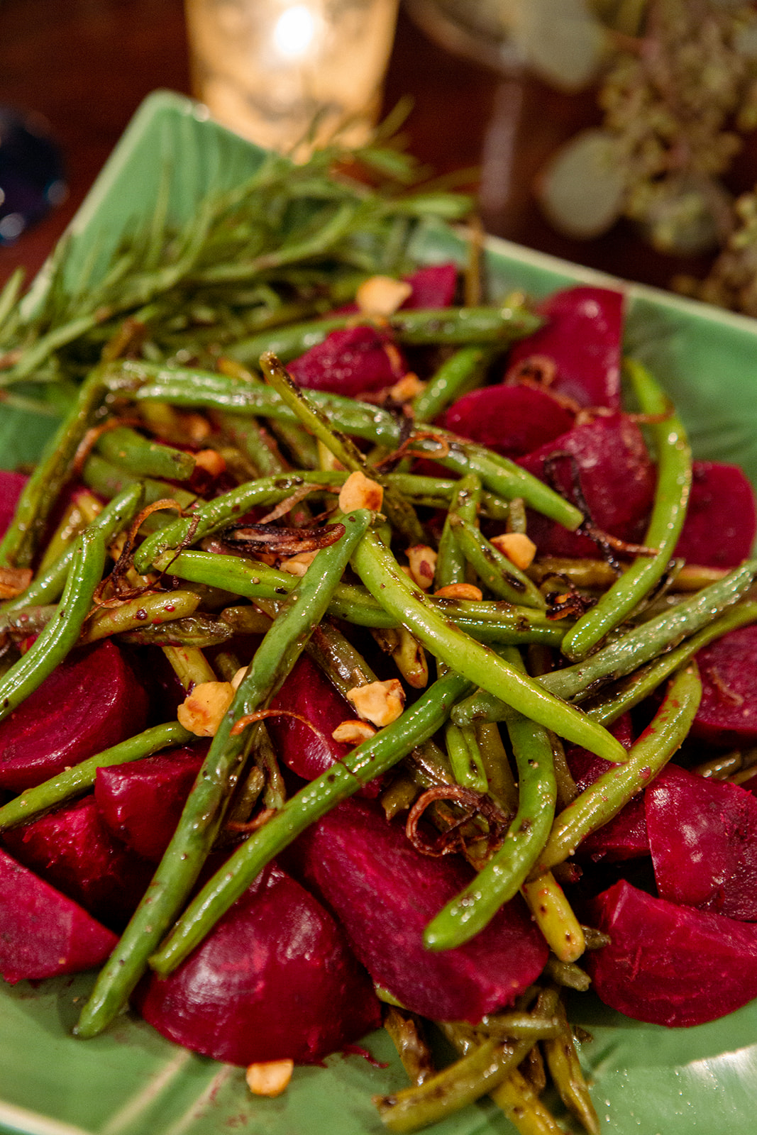 roasted beets charred green beans