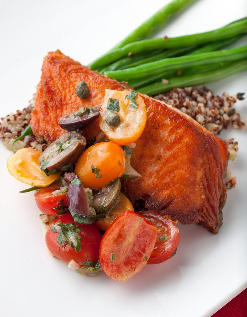 Pan-Seared Steelhead Trout with Quinoa and Tomato Caper Vinaigrette