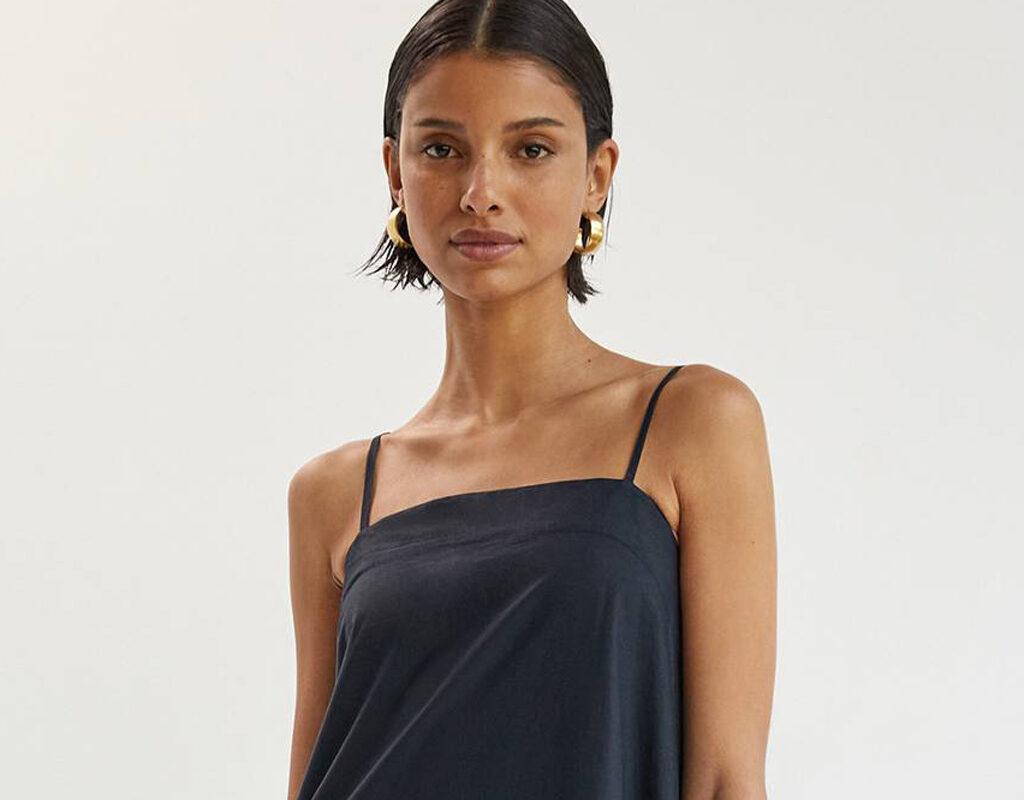 maeve flounced maxi dress